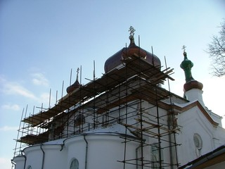 an old church being renovated
