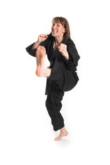 woman doing karate