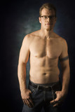 shirtless caucasian man portrait. poster