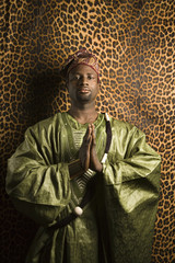 man in traditional african clothing.