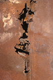 close-up of old rusted car poster