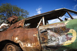 old abandoned and rusted car. poster