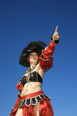 woman dressed in pirate costume.