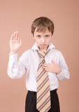 young businessman taking an oath poster