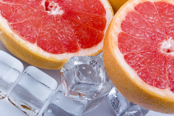 Grapefruits with ice cubes