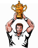 rugby player lifting world cup trophy poster