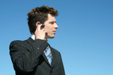 businessman using a hands free device poster