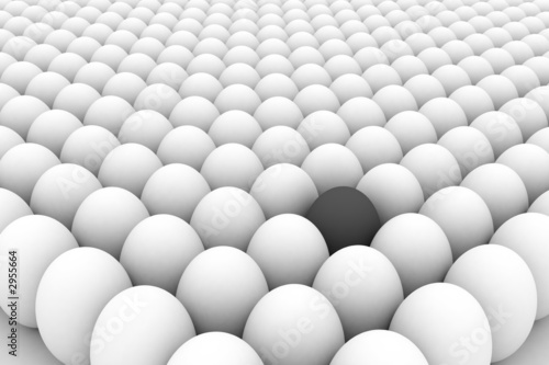 3d image of the eggs group with one different egg