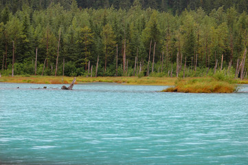 glacier fed lake in alaska