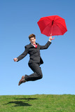 businessman jumping for joy poster