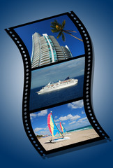 film strip depicting vacation destinations