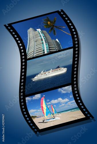 film strip depicting vacation destinations poster
