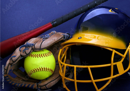 helmet, softball, glove and bat