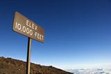 Elevation sign in Haleakala National Park in Maui, Hawaii. poster