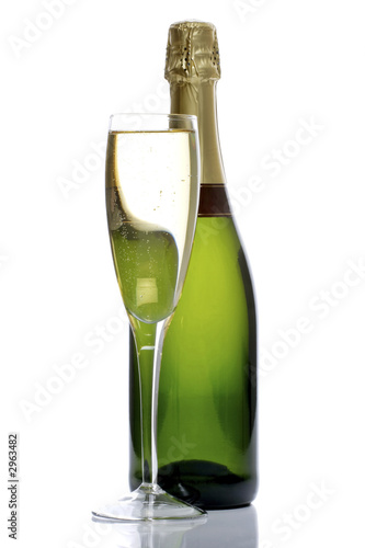 Photo: bottle and glass of champagne
