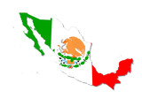 mexico map and flag poster