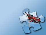 british puzzle piece on blue poster