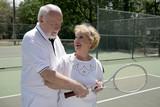 active seniors play tennis poster