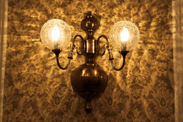 old lamp and wallpaper