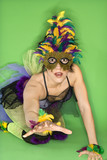 Woman in Mardi Gras type costume. poster