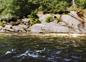 sunshine, water and rocks