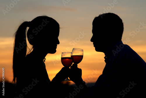 having a toast at the sunrise