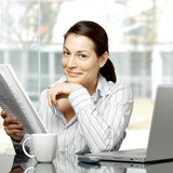 businesswoman reads document poster