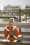 Life preserver on dock on Bald Head Island, North Carolina. poster