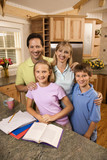 Family portrait in kitchen. poster