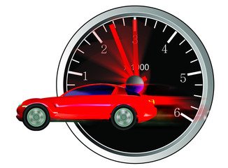 red car with tachometer in background