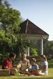 Family having picnic in park. poster