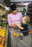 Mother grocery shopping with toddler. poster