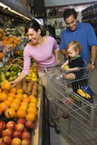 Family grocery shopping. poster