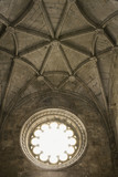Ceiling and window in Jeronimos Monastery in Lisbon, Portugal. poster