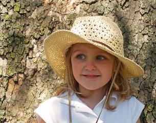 little girl in sun hat