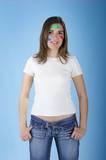 woman with bandages on the face poster