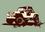 vintage military vehicle poster