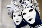 two venetians in blue and silver costumes poster