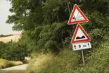 Road sign warnings, Tuscany. poster