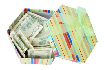 gift box with the dollars pile