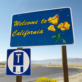 Welcome to California sign against blue sky. poster
