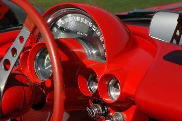 red vintage sports car