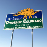 welcome sign for city of dinosaur, colorado, usa. poster