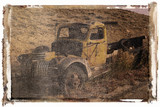 polaroid transfer of old pickup abandoned on hill. poster