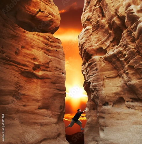 canvas print picture climbing on sunset