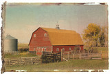 polaroid transfer of red barn and fence. poster