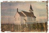 polaroid transfer of rural church in field. poster