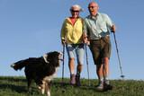 Fototapety hund, frau und mann haben spass