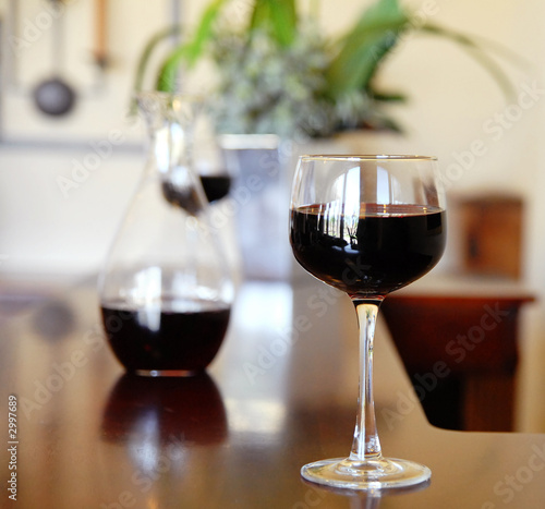 wineglass on bar.