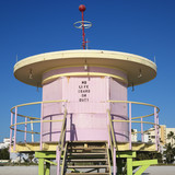 Pink lifeguard tower closed up in Miami, Florida, USA. poster